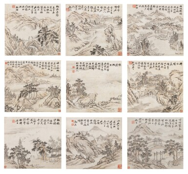 View 1. Thumbnail of Lot 121. Weng Tonghe (1830-1904) Ensemble de neuf peintures de paysage | 翁同龢 山水圖 一組九幀 | Weng Tonghe (1830-1904) Set of Nine Landscapes, ink and colour on paper, hanging scrolls.