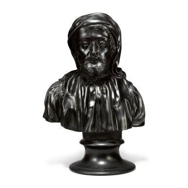 A WEDGWOOD BLACK BASALT BUST OF CHAUCER EARLY 19TH CENTURY