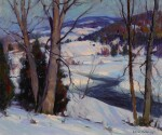 EMILE ALBERT GRUPPE | TREES BY A STREAM IN THE SNOW