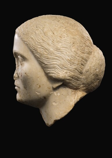 View 2. Thumbnail of Lot 47. A ROMAN MARBLE PORTRAIT HEAD OF A WOMAN, ANTONINE, 3RD QUARTER OF THE 2ND CENTURY A.D..