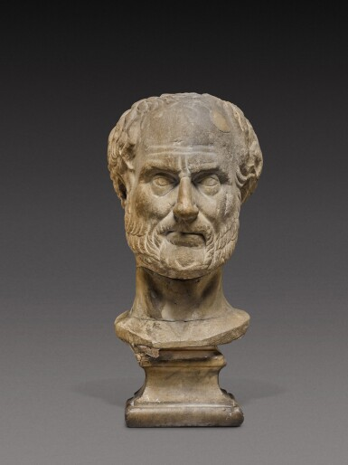 View 1. Thumbnail of Lot 85. A Roman Marble Portrait Head of a Man, probably Thucydides, 2nd Century A.D..