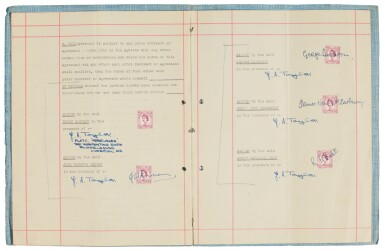 View 1. Thumbnail of Lot 168. The Beatles, signed management contract with Brian Epstein, 24 January 1962.