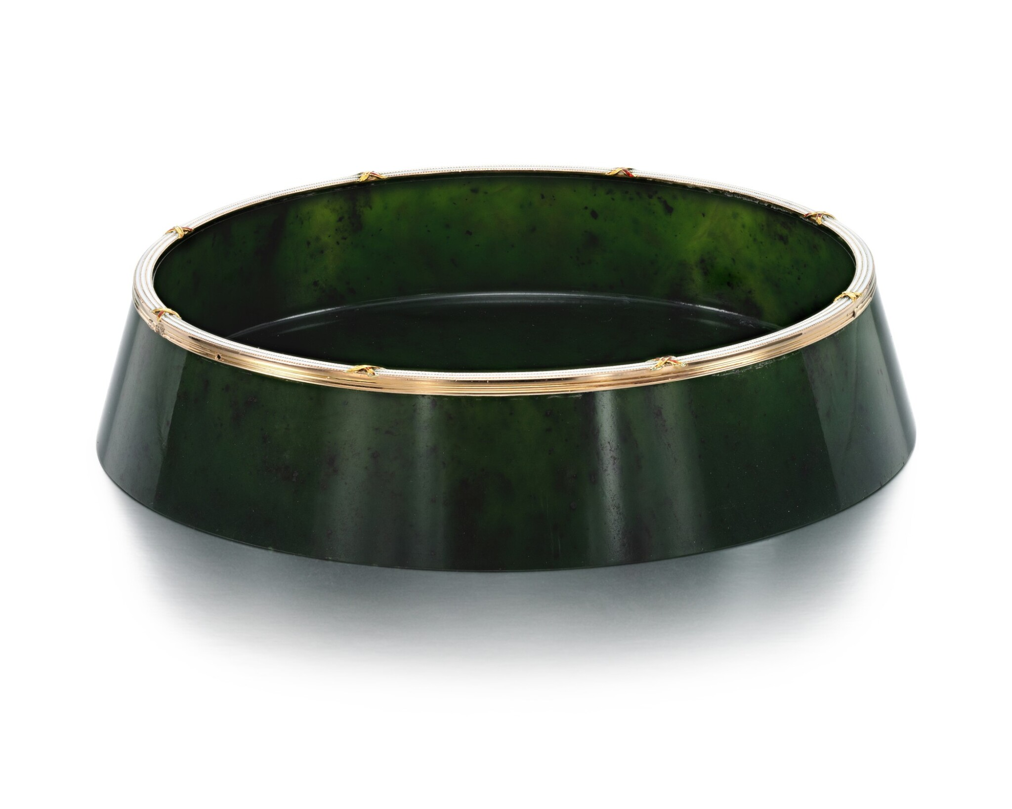 View full screen - View 1 of Lot 27. A FABERGÉ GOLD AND CHAMPLEVÉ ENAMEL-MOUNTED NEPHRITE BOWL, WORKMASTER MICHAEL PERCHIN, ST PETERSBURG, CIRCA 1890.