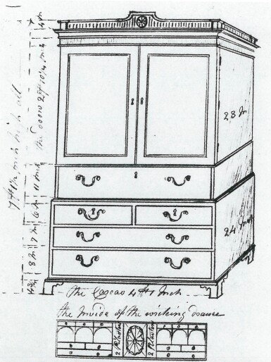 View 4. Thumbnail of Lot 109.  A GEORGE III MAHOGANY SECRETAIRE PRESS CUPBOARD, CIRCA 1790, ATTRIBUTED TO GILLOWS.