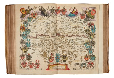 View 3. Thumbnail of Lot 53. BLAEU | Theatrum Orbis Terrarum. Amsterdam, 1640-1654, 5 volumes, folio, contemporary Dutch vellum gilt.