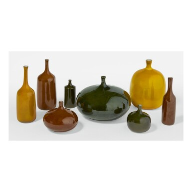 """JACQUES RUELLAND AND DANI RUELLAND   EIGHT """"BOUTEILLE"""" VASES"""