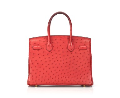 View 2. Thumbnail of Lot 1.  BIRKIN 30 OSTRICH LEATHER IN ROUGE VIF COLOUR WITH GOLD HARDWARE. HERMÈS, 2016.