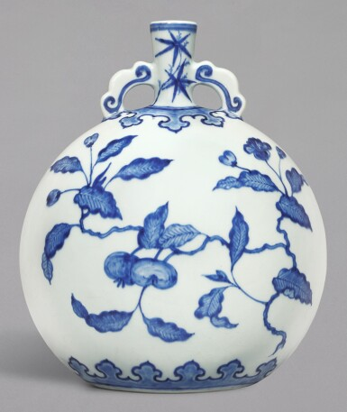 View 1. Thumbnail of Lot 11. A FINE BLUE AND WHITE MING-STYLE 'PERSIMMON' MOONFLASK, QING DYNASTY, YONGZHENG PERIOD | 清雍正 青花事事如意紋雙耳抱月瓶.