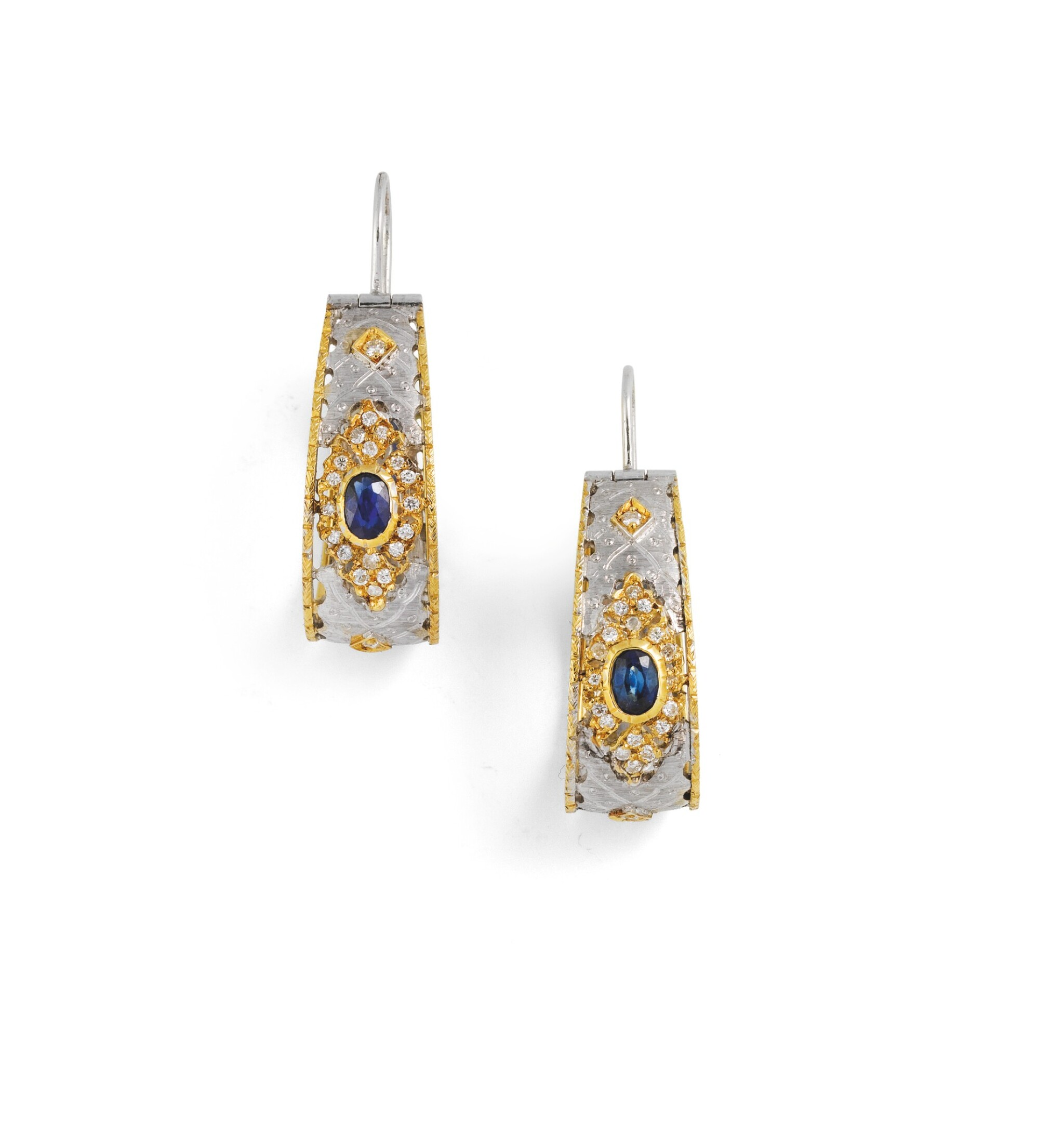 View full screen - View 1 of Lot 94. Pair of sapphire and diamond earrings [Paire de boucles d'oreille saphirs et diamants].