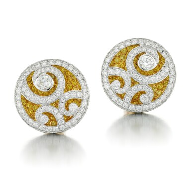 View 1. Thumbnail of Lot 53. GRAFF | PAIR OF COLOURED DIAMOND AND DIAMOND EARRINGS.