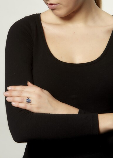 View 4. Thumbnail of Lot 1. SAPPHIRE AND DIAMOND RING.