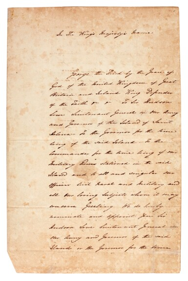 View 1. Thumbnail of Lot 9. BATHURST   warrant, appointing Sir Hudson Lowe jailer to Napoleon, 1816.