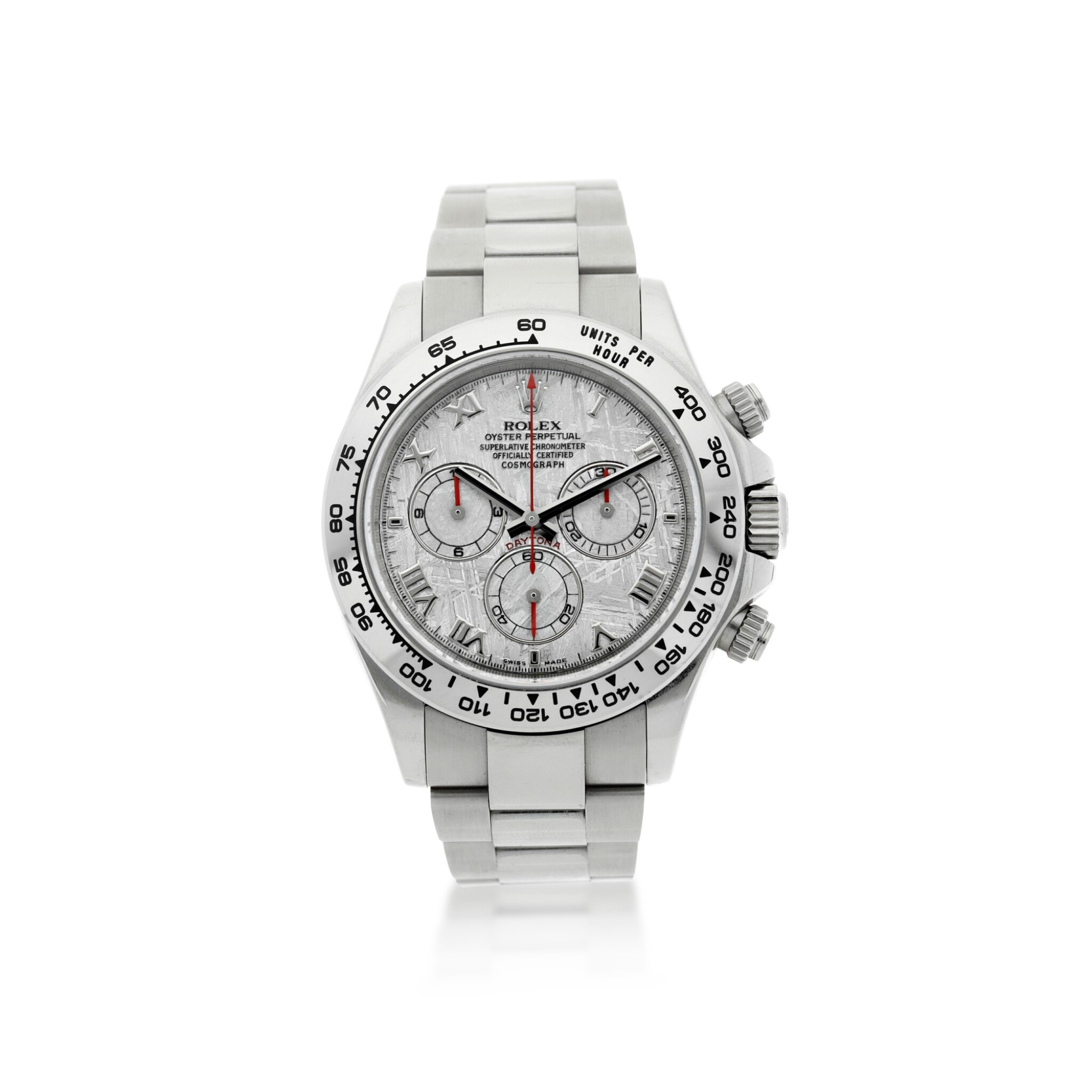 View full screen - View 1 of Lot 8. REFERENCE 116509 DAYTONA A WHITE GOLD AUTOMATIC CHRONOGRAPH WRISTWATCH WITH METEORITE DIAL AND BRACELET, CIRCA 2003.