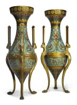 A PAIR OF MONUMENTAL FRENCH NAPOLEON III GILT BRONZE AND CHAMPLEVE ENAMEL VASES BY FERDINAND BARBEDIENNE, AFTER A DESIGN BY LOUIS-CONSTANT SEVIN, THIRD QUARTER 19TH CENTURY