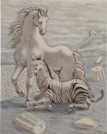 Cavallo e zebra in riva al mare (Horse and Zebra by the Sea)