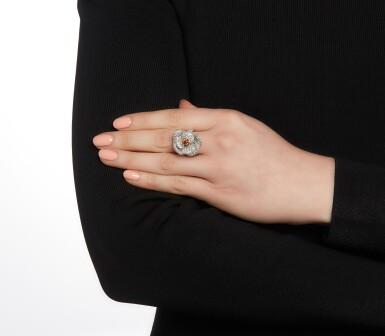 View 4. Thumbnail of Lot 164. Fancy Deep Yellowish-Orange diamond and diamond ring.