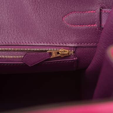 View 9. Thumbnail of Lot 26. HERMÈS   HORSESHOE STAMP (HSS) BICOLOR ROSE TYRIEN AND ANEMONE BIRKIN 35CM OF EPSOM LEATHER WITH GOLD HARDWARE.