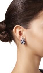 PAIR OF SAPPHIRE AND DIAMOND EARCLIPS