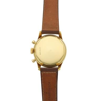View 5. Thumbnail of Lot 101. A yellow gold chronograph wristwatch, Circa 1955 .