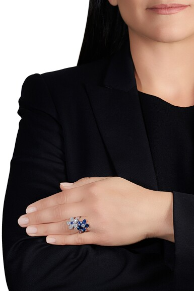 View 4. Thumbnail of Lot 14. Sapphire and diamond ring.