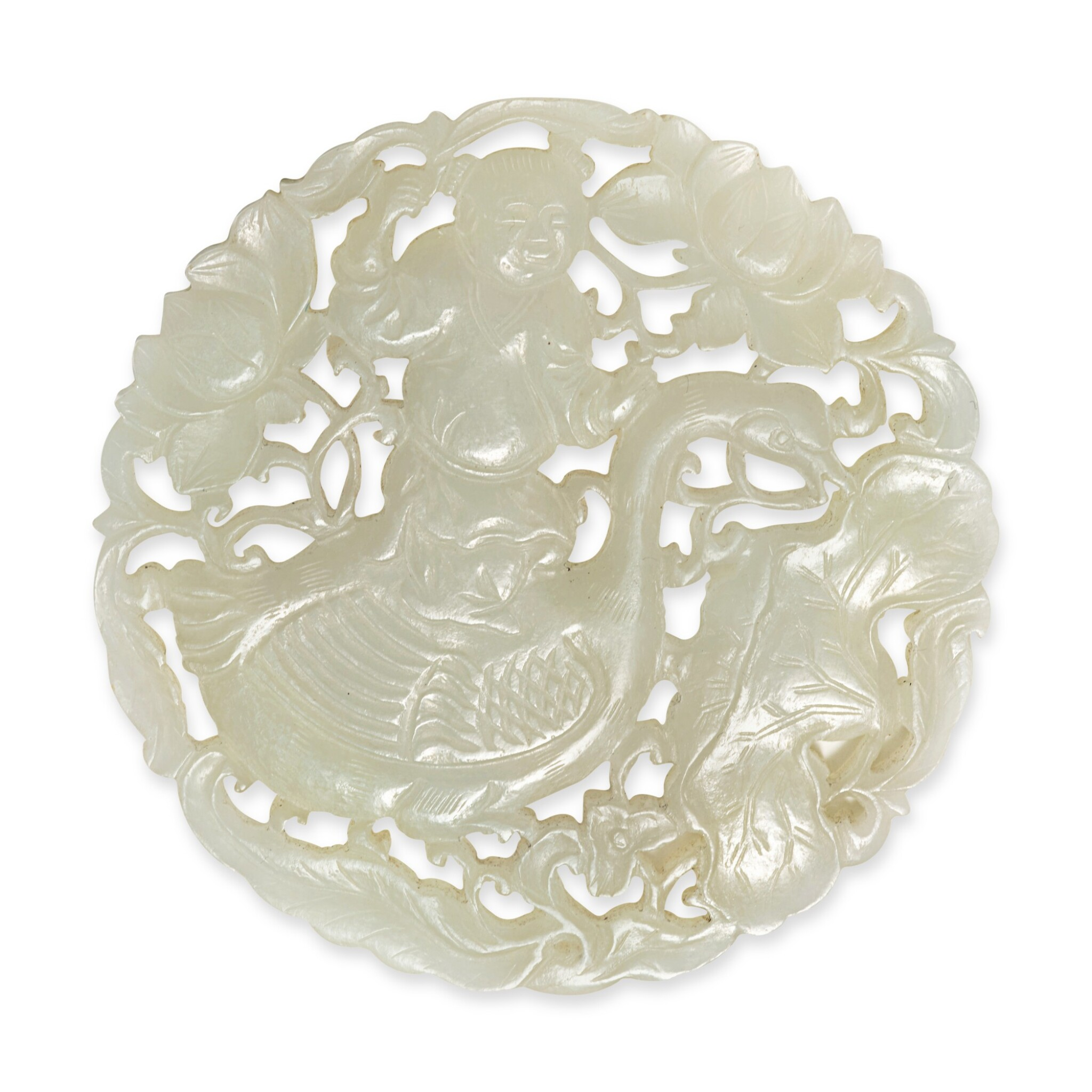 View full screen - View 1 of Lot 155. A reticulated pale celadon jade 'boy and goose' plaque, Qing dynasty.