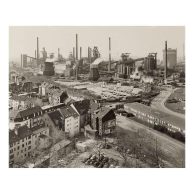 BERND AND HILLA BECHER   'BLAST FURNACE PLANT DUISBERG-BRUCKHAVEN, RUHR, G (VIEW FROM OUTSIDE)'