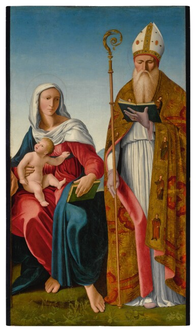View 1. Thumbnail of Lot 571. Madonna and Child with a Bishop Saint.