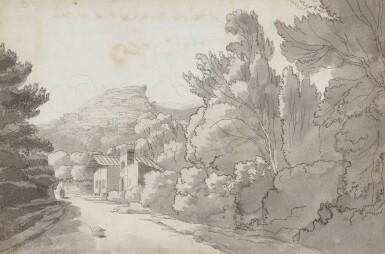 View 1. Thumbnail of Lot 596. FRANCIS TOWNE | A view of a Hermitage at Rocca di Papa, near Lake Albano,Italy.