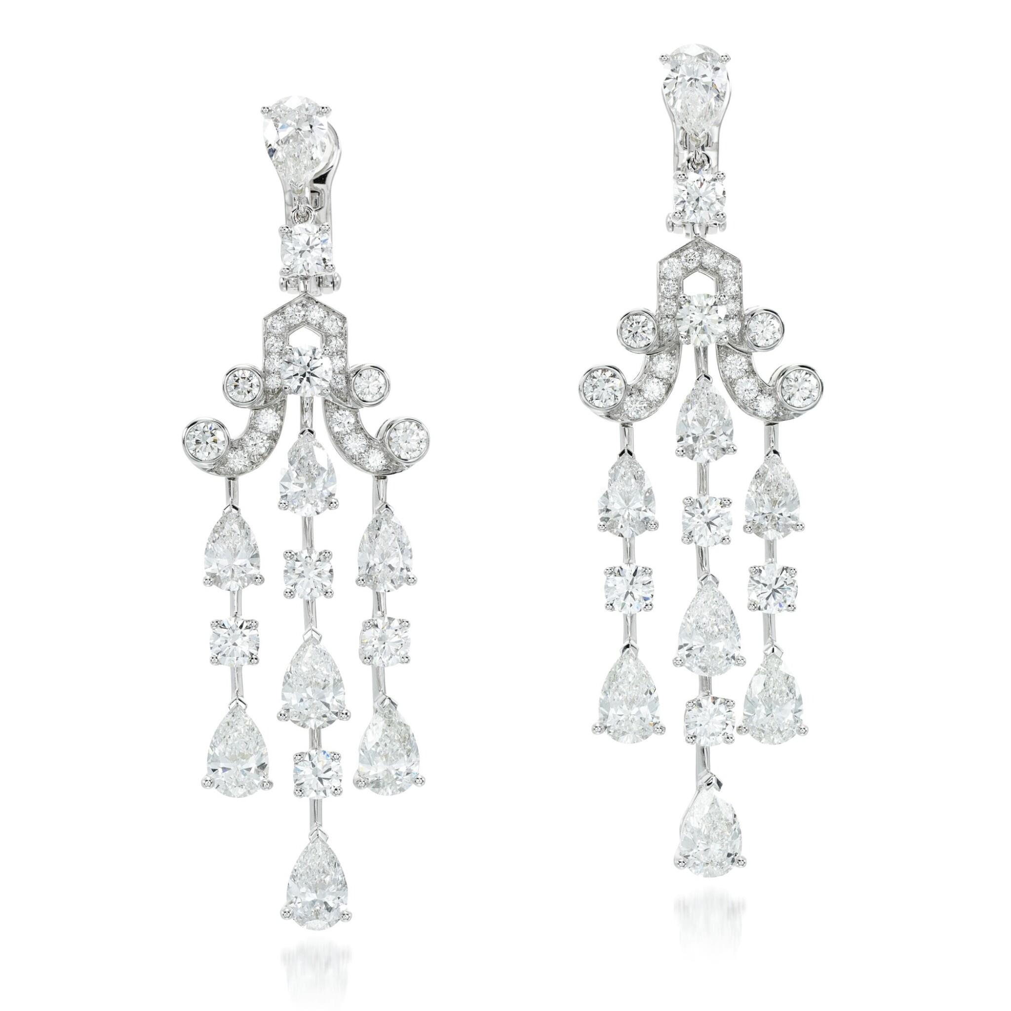 View full screen - View 1 of Lot 94. Graff   Pair of diamond earrings.
