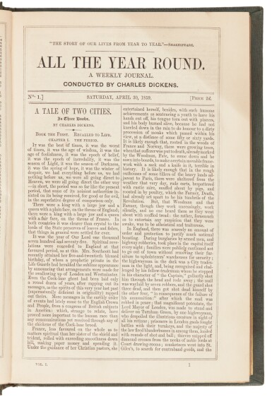 View 2. Thumbnail of Lot 177. Dickens, All the Year Round, 1859-68, 19 volume set .