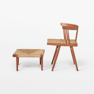 """View 2. Thumbnail of Lot 116. """"Grass Seated"""" Chair and Stool."""