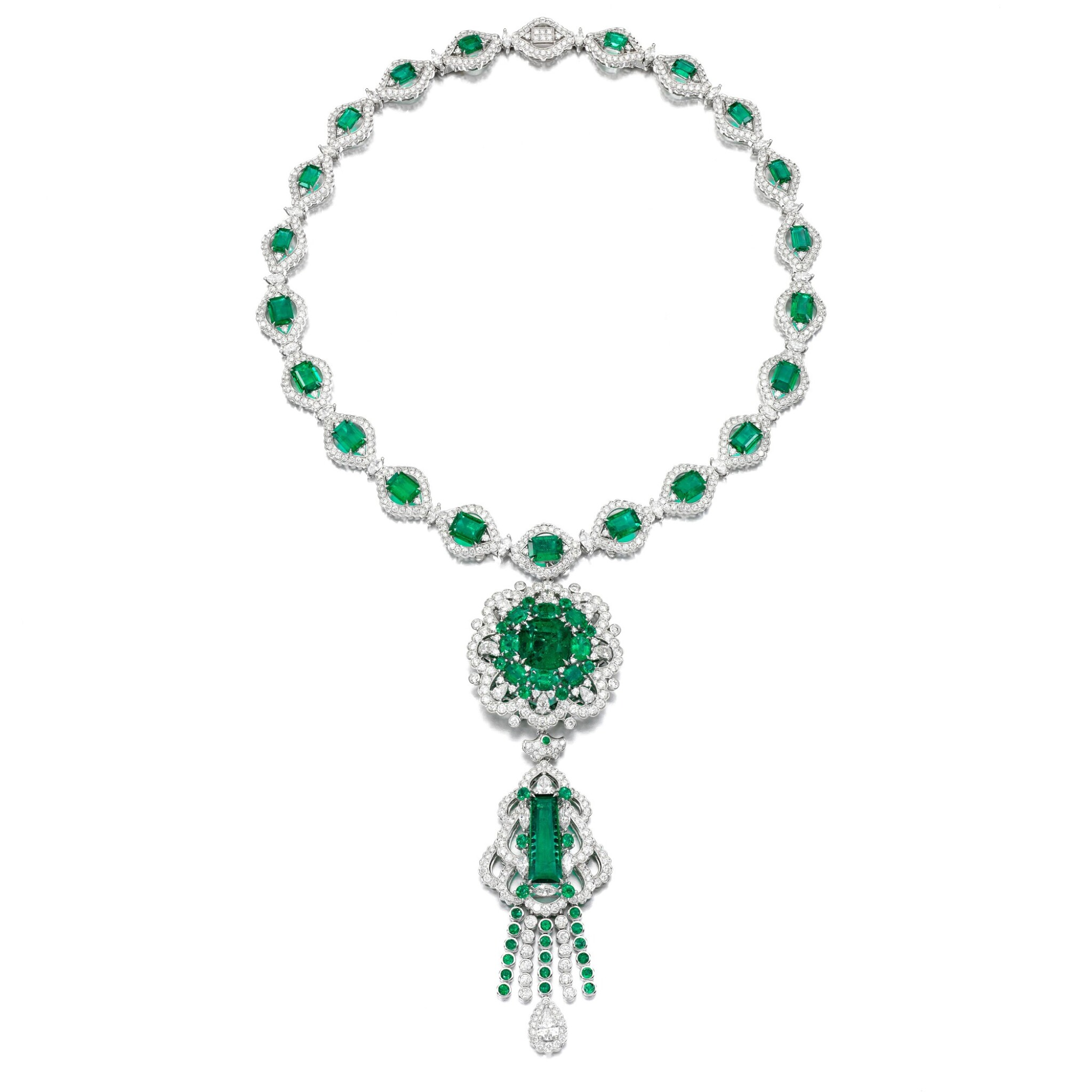 View full screen - View 1 of Lot 38. Emerald and diamond necklace.