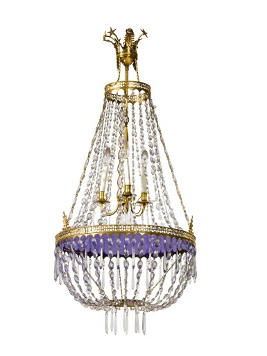 View 2. Thumbnail of Lot 249. A NORTHERN EUROPEAN NEOCLASSICAL GILT BRONZE, BLUE GLASS, AND CUT CRYSTAL THREE LIGHT CHANDELIER, 19TH CENTURY.