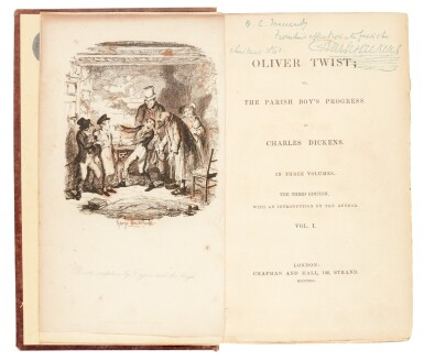 View 1. Thumbnail of Lot 50. Dickens, Oliver Twist, 1841, third edition, presentation copy inscribed to Macready.
