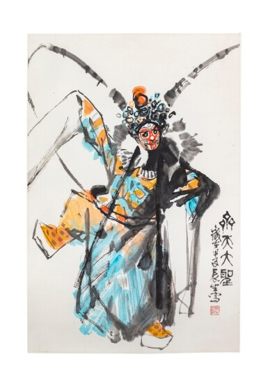 View 3. Thumbnail of Lot 140. Artistes variés Ensemble de six peintures d'Opéra chinois   京劇人物 一組六幀   Various artists Set of Six Paintings of Chinese Opera.