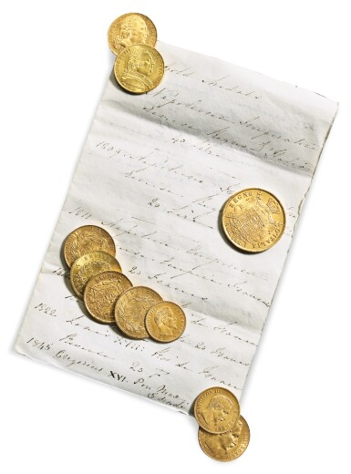 View 1. Thumbnail of Lot 211.  A GROUP OF TEN FRENCH GOLD COINS, 1809-1857.