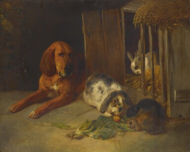 View 1. Thumbnail of Lot 72. ENGLISH SCHOOL, 19TH CENTURY   BLOOD HOUND WITH RABBITS.