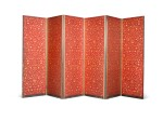 A PAIR OF CHINESE EXPORT GILT-HEIGHTENED RED AND BLACK LACQUER SIX-FOLD SCREENS, CIRCA 1800