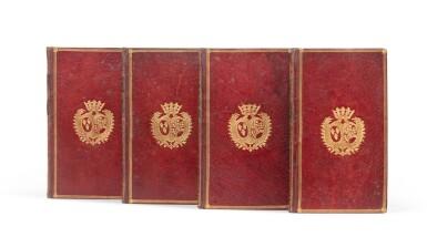 View 1. Thumbnail of Lot 82. Le Paradis perdu. Paris, 1765. 4 vol in-12. Maroquin rouge, aux armes de la comtesse de Provence..