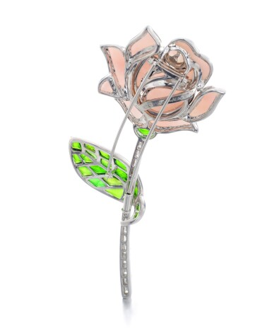 View 3. Thumbnail of Lot 5. MICHELE DELLA VALLE | PINK OPAL, TOURMALINE AND DIAMOND BROOCH.