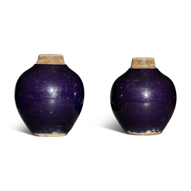 View 1. Thumbnail of Lot 117. A pair of purple-glazed tea caddies, Qing dynasty.