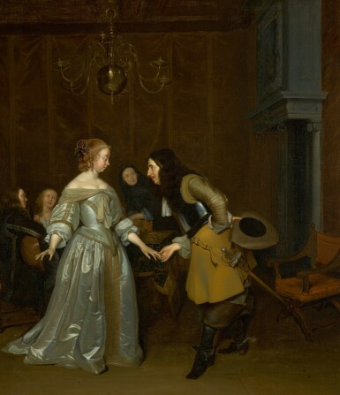 View 1. Thumbnail of Lot 150. 'The Introduction', or An officer making his bow to a lady.