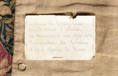 """View 5. Thumbnail of Lot 40. A GOBELINS ROYAL MANUFACTURE TAPESTRY FROM THE SERIES """"MAISONS ROYALES"""" DEPECTING THE FONTAINEBLEAU CASTLE, LOUIS XV, EARLY 18TH CENTURY, AFTER A DESIGN OF CHARLES LE BRUN   TAPISSERIE ALLÉGORIQUE DE LA MANUFACTURE DES GOBELINS TIRÉE DE LA TENTURE DES MAISONS ROYALES REPRÉSENTANT LE CHÂTEAU DE FONTAINEBLEAU D'ÉPOQUE LOUIS XIV, DÉBUT DU XVIIIÈME SIÈCLE, D'APRÈS UN CARTON DE CHARLES LE BRUN."""