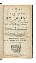 HUMAS, O CINCO LIBROS DE LA LEY DIVINA. JUNTAS LAS APHTAROT DEL AÑO (PENTATEUCH WITH HAFTAROT IN JUDEO-SPANISH), AMSTERDAM: MENASSEH BEN ISRAEL, 1654-1655