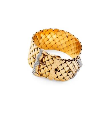 View 2. Thumbnail of Lot 60. Gold and diamond bracelet [Bracelet or et diamants], 1950s [vers 1950].