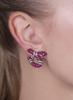 Pair of ruby and diamond ear clips, 'Serpentelli', Michele della Valle