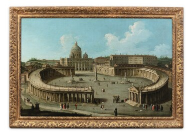 View 2. Thumbnail of Lot 58. A view of San Pietro di Roma and the colonnade.