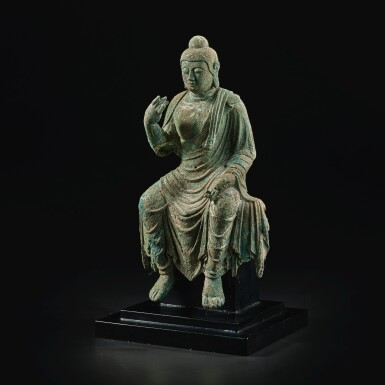 View 2. Thumbnail of Lot 585. A BRONZE FIGURE OF BUDDHA,  TANG DYNASTY.