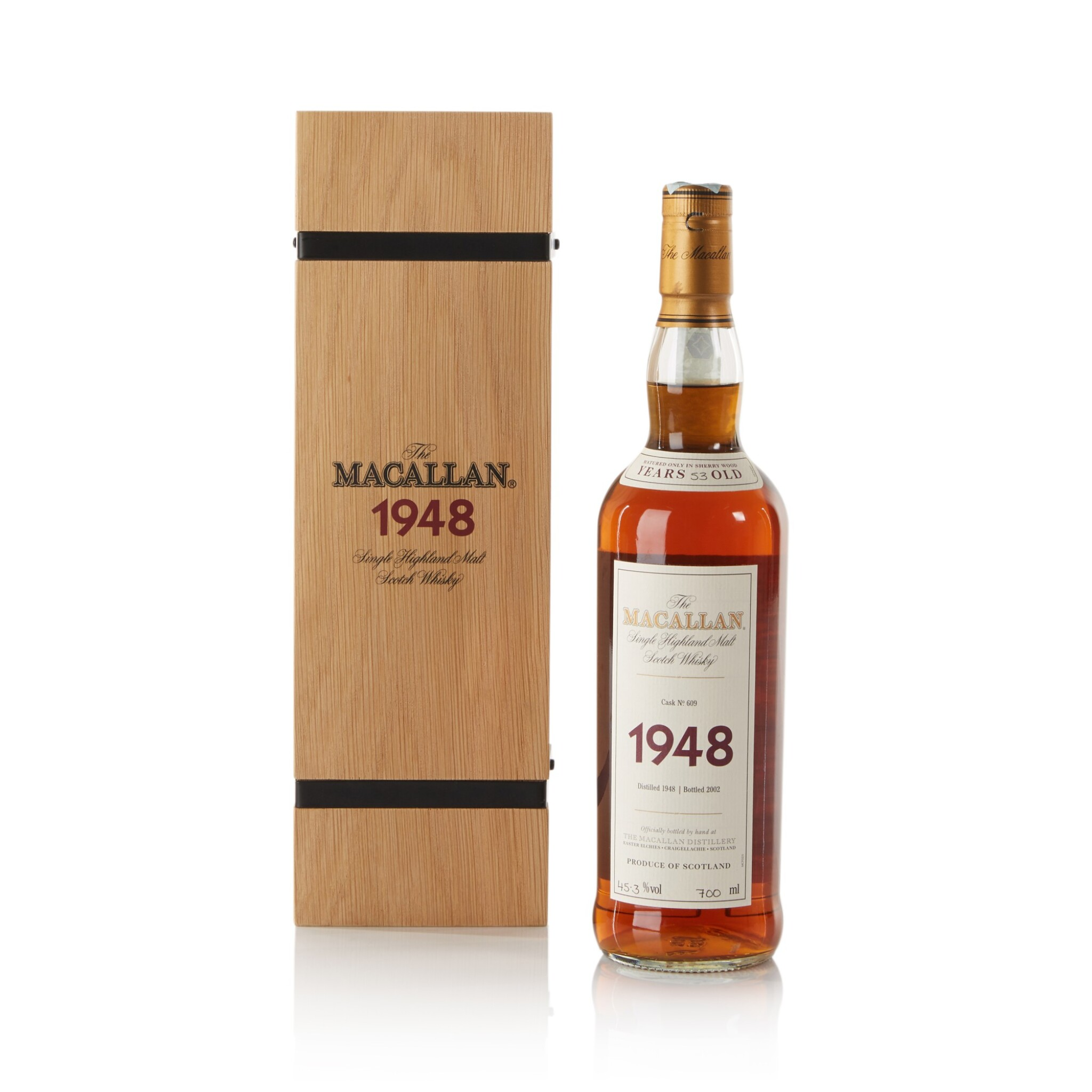 View full screen - View 1 of Lot 38. The Macallan Fine & Rare 53 Year Old 45.3 abv 1948 .