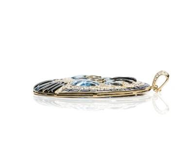View 3. Thumbnail of Lot 15. Gem set and diamond pendant, 'Cat', Michele della Valle.